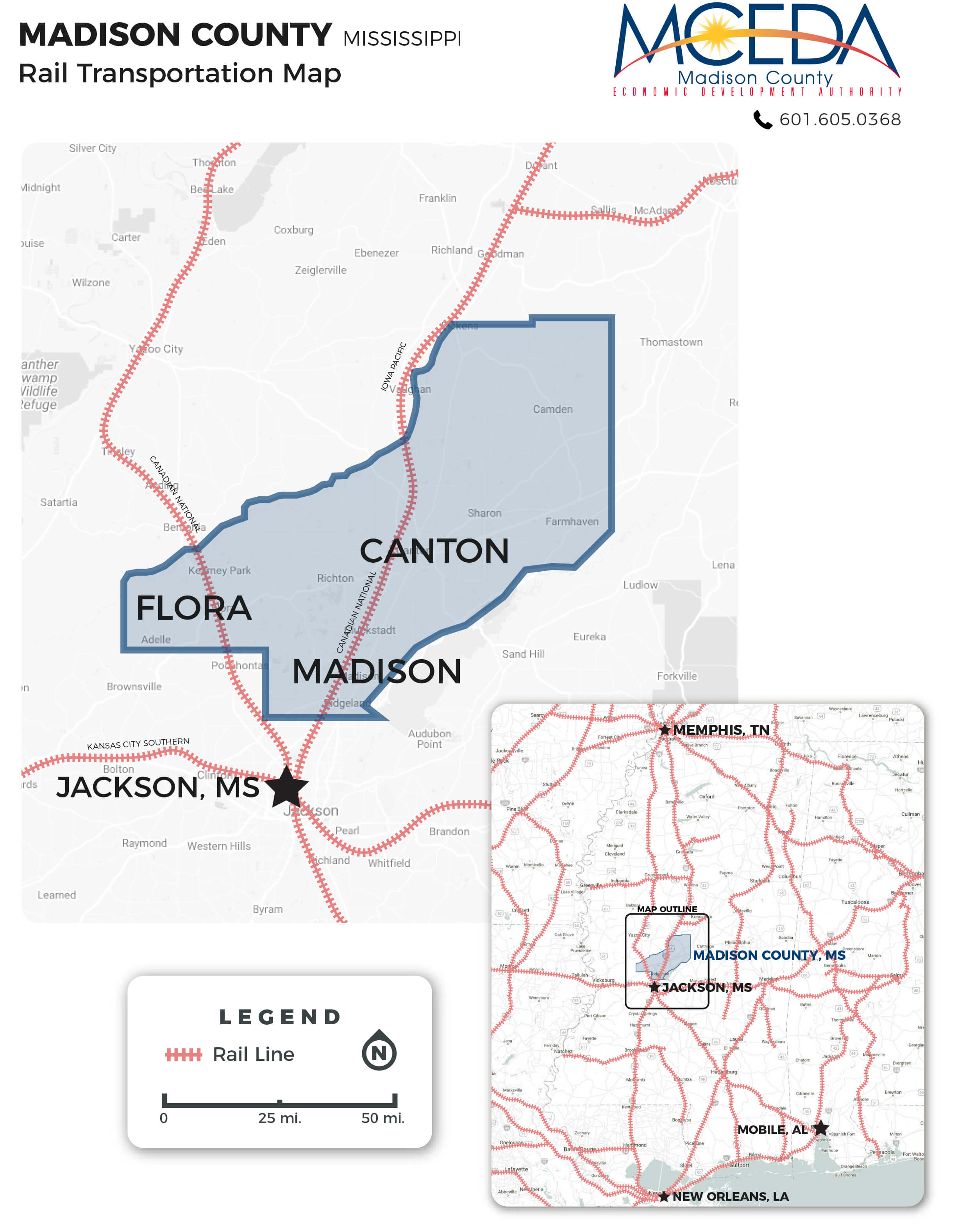 Image of Madison County, MS Rail Transportation Map