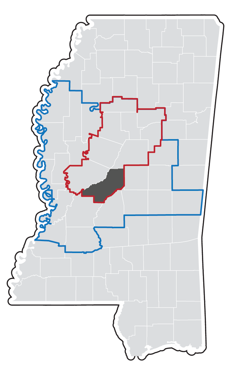 Outlined map of the Jackson, MS MSA area.