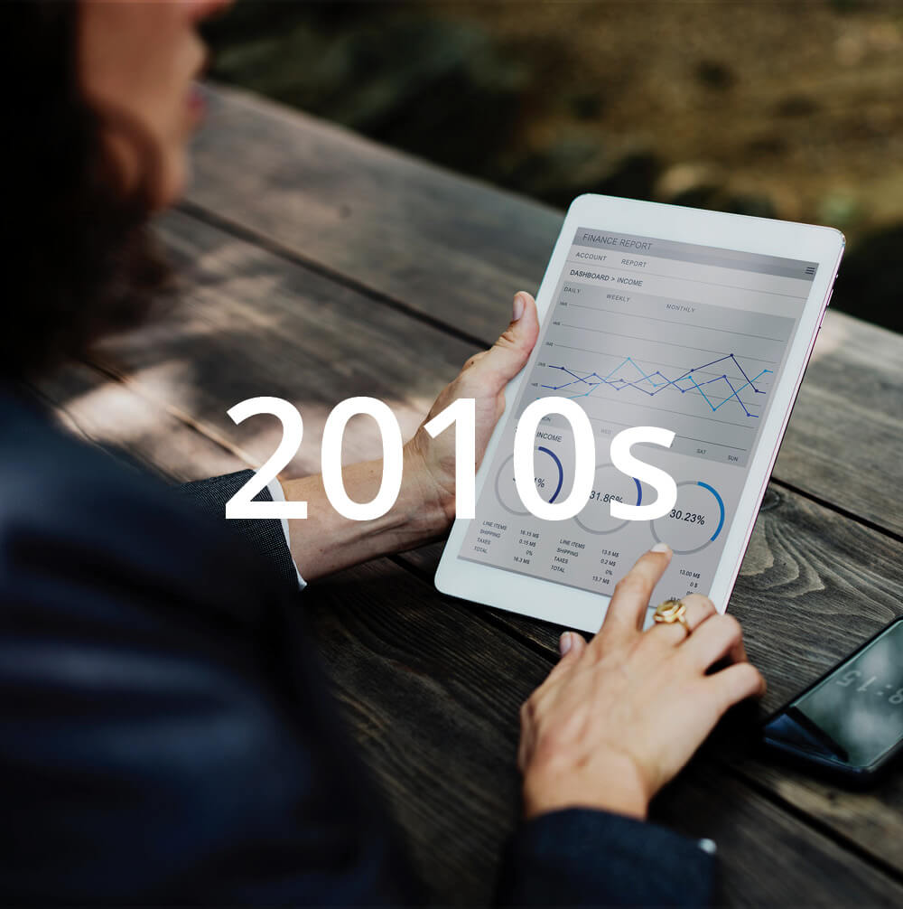 """Photo of woman pointing at graphs on an iPad. Image features text overlay that reads """"2010s""""."""
