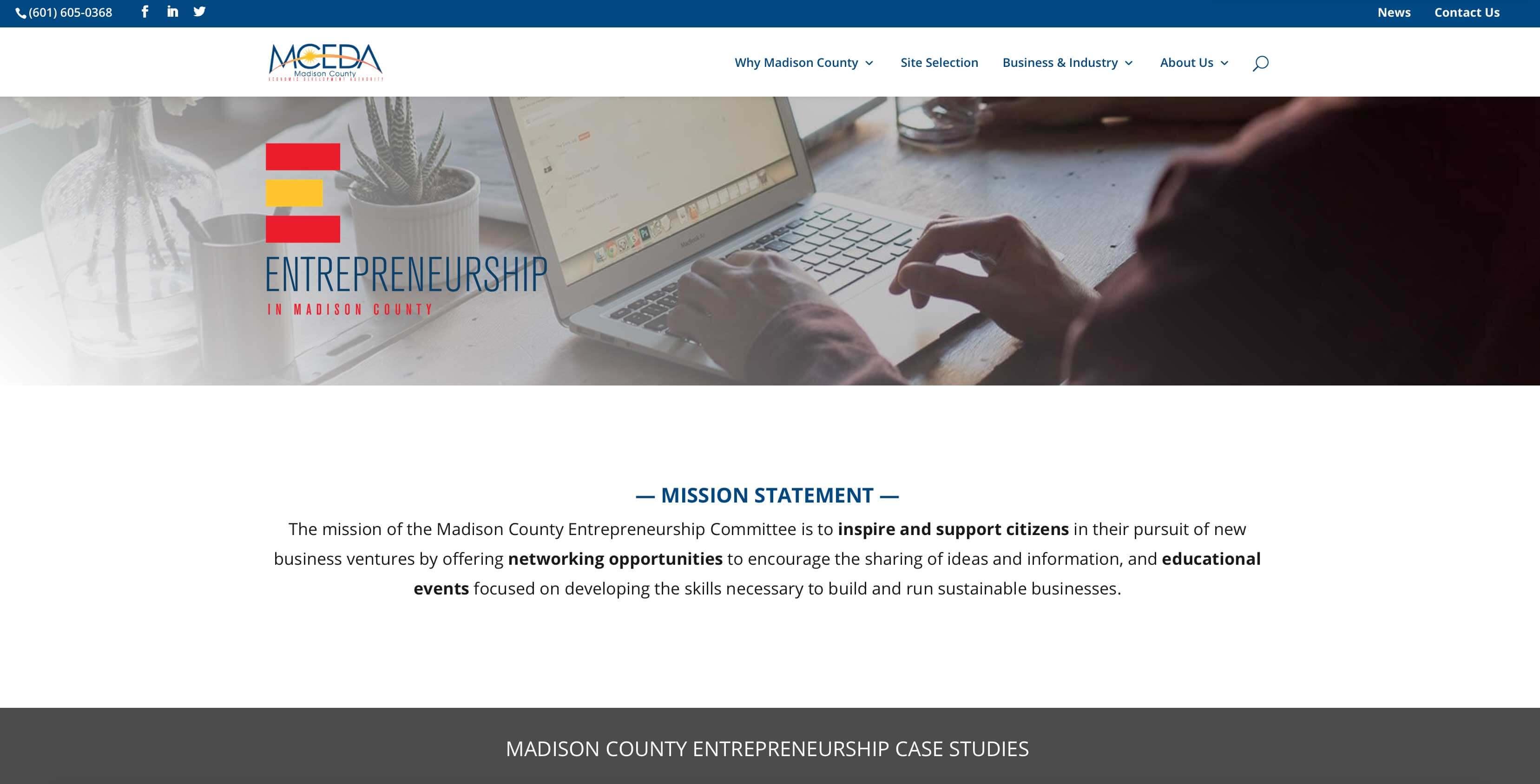 MCEDA Entrepreneurship webpage